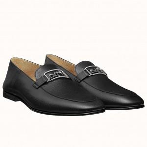 Hermes Men's Tenor Loafers In Black Calfskin