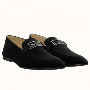 Hermes Men's Tenor Loafers In Black Suede Leather