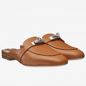 Hermes Oz Mule In Camarel Calfskin Leather