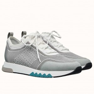 Hermes Addict Sneakers In Grey Knit