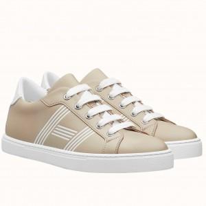 Hermes Avantage Sneakers In Beige/White Calfskin
