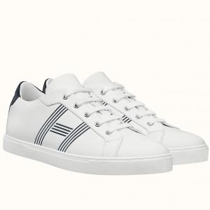 Hermes Avantage Sneakers In White/Blue Calfskin