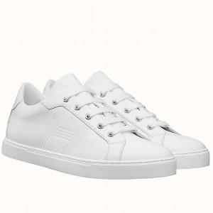 Hermes Avantage Sneakers In White Calfskin