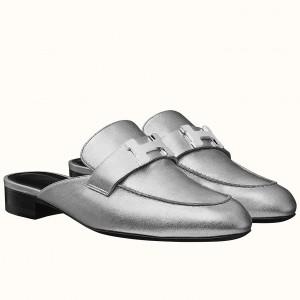 Hermes Trocadero Mule In Silver Nappa Leather