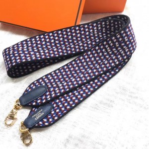Hermes Sangle Zigzag 50 mm Bag Strap White/Blue/Red