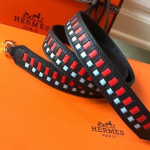 Hermes Noir Tressage Cuir 25MM Bag Strap
