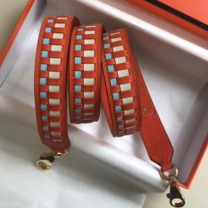 Hermes Orange Tressage Cuir 25MM Bag Strap