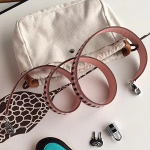 Hermes Pink Tressage Cuir 25 MM Bag Strap