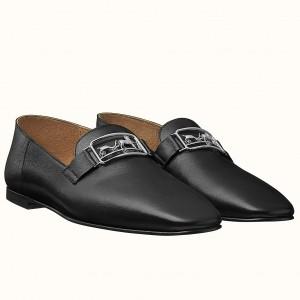 Hermes Time Loafers In Black Goatskin