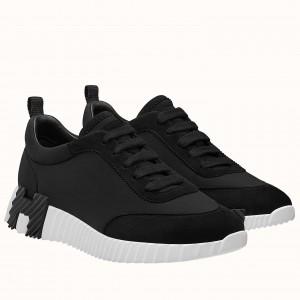 Hermes Bouncing Sneakers In Black Canvas
