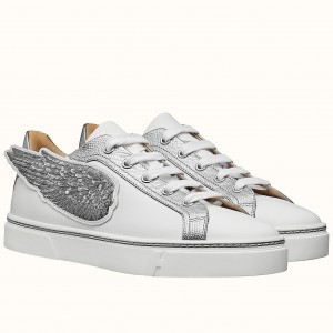 Hermes Velvet Sneakers In Blanc Calfskin With Printed Wing Patch
