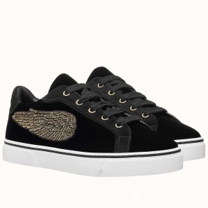 Hermes Velvet Sneakers In Black Velvet With Embroidered Wing Patch