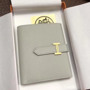 Hermes Bearn Compact Wallet In Pearl Grey Epsom Leather