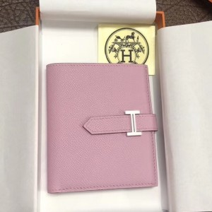 Hermes Bearn Compact Wallet In Pink Epsom Leather