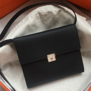 Hermes Black Clic 16 Wallet With Strap