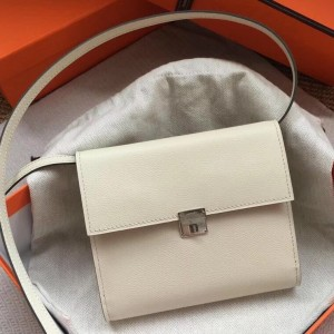 Hermes White Clic 16 Wallet With Strap