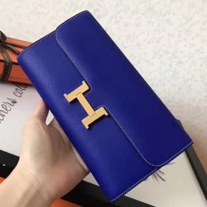Hermes Blue Electric Epsom Constance Long Wallet