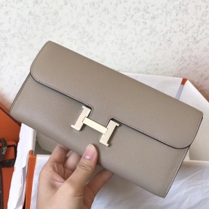 Hermes Grey Epsom Constance Long Wallet