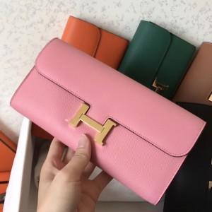 Hermes Pink Epsom Constance Long Wallet