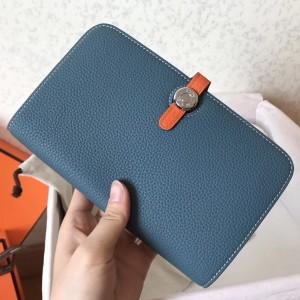 Hermes Bicolor Dogon Duo Wallet In Jean/Orange Leather