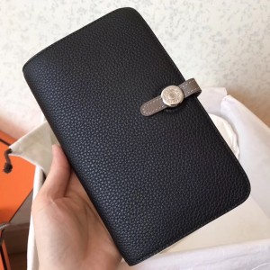 Hermes Bicolor Dogon Duo Wallet In Black/Taupe Leather
