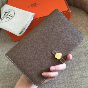 Hermes Taupe Grey Dogon Duo Combined Wallet
