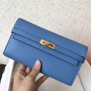 Hermes Kelly Classic Long Wallet In Blue Jean Epsom Leather