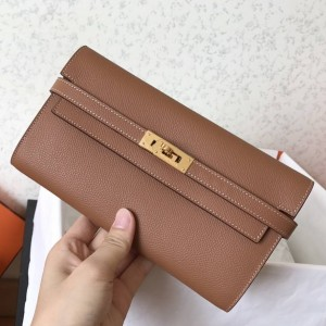 Hermes Kelly Classic Long Wallet In Brown Epsom Leather