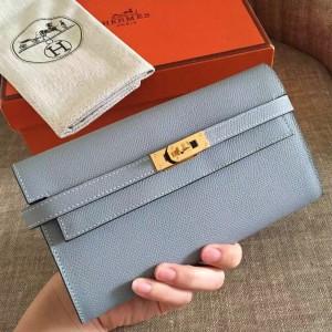Hermes Kelly Classic Long Wallet In Ciel Epsom Leather