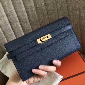 Hermes Kelly Classic Long Wallet In Navy Epsom Leather