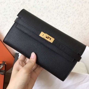 Hermes Kelly Classic Long Wallet In Black Epsom Leather