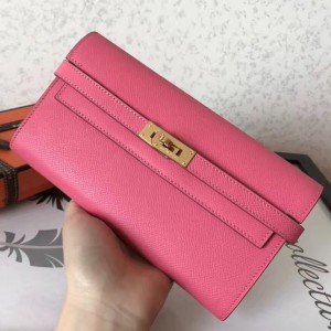 Hermes Kelly Classic Long Wallet In Pink Epsom Leather