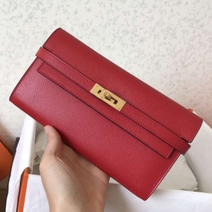 Hermes Kelly Classic Long Wallet In Red Epsom Leather