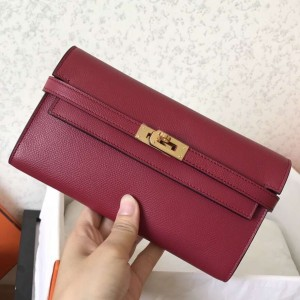 Hermes Kelly Classic Long Wallet In Ruby Epsom Leather
