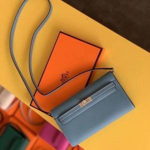 Hermes Kelly Classique To Go Wallet In Blue Jean Epsom Calfskin