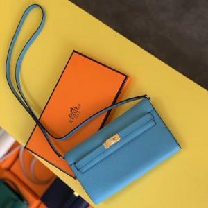 Hermes Kelly Classique To Go Wallet In Blue Du Nord Epsom Calfskin