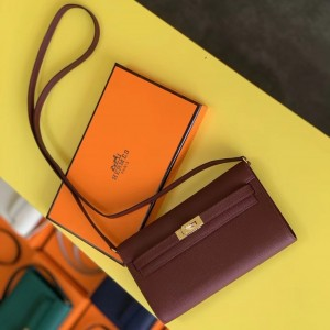 Hermes Kelly Classique To Go Wallet In Bordeaux Epsom Calfskin