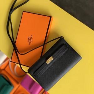Hermes Kelly Classique To Go Wallet In Black Epsom Calfskin