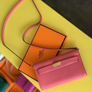 Hermes Kelly Classique To Go Wallet In Rose Lipstick Epsom Calfskin