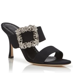 Manolo Blahnik Black Gable Jewel 75mm Sandals