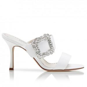 Manolo Blahnik White Gable Jewel 75mm Sandals