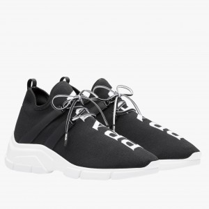 Prada Black Knit Fabric Logo Sneakers
