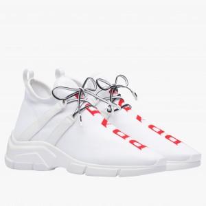 Prada White Knit Fabric Logo Sneakers