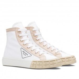 Prada White/Beige Gabardine High-top Sneakers