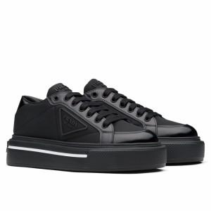 Prada Women's Macro Sneakers In Black Re-Nylon And Leather