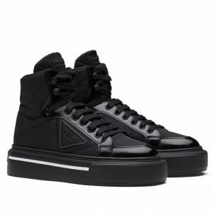 Prada Women's Macro High-top Sneakers In Black Re-Nylon And Leather