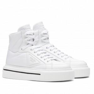 Prada Women's Macro High-top Sneakers In White Re-Nylon And Leather