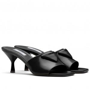Prada Mid-heeled Slides In Black Brushed Leather