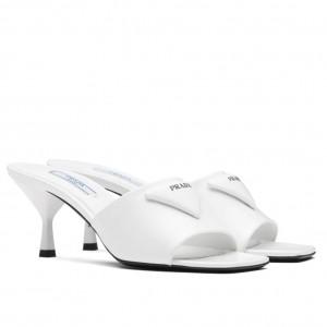 Prada Mid-heeled Slides In White Brushed Leather