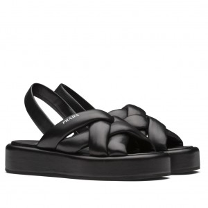 Prada Flatform Sandals In Black Nappa Leather